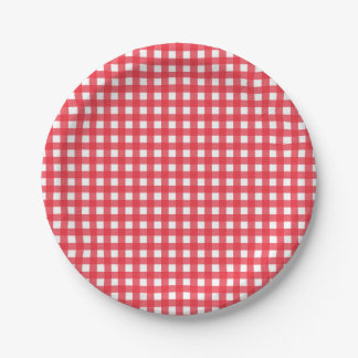 Red Gingham Checkered Rustic Country Picnic Party Paper Plate