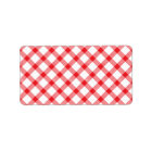 Red Gingham Chequered Checked Chequered Pattern Label