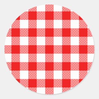 Red Gingham Classic Round Sticker