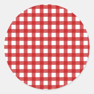Red Gingham Envelope Seal Round Sticker