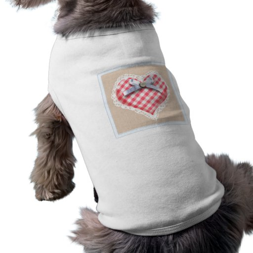 Red Gingham Heart with bow graphic Doggie Tshirt