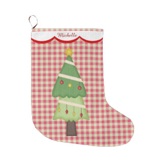 Red Gingham Holiday Tree Personalized Large Christmas Stocking