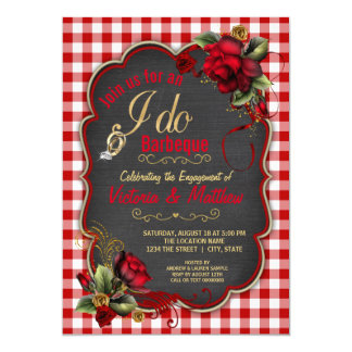 Red Gingham I Do BBQ Couples BBQ Shower Card
