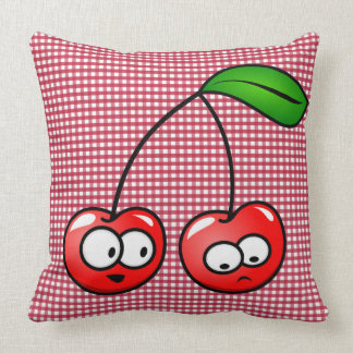 Red Gingham Kid's Cute Cherry Accent Throw Pillow
