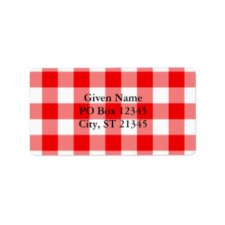 Red Gingham Label