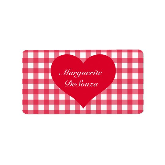 Red Gingham Love Label