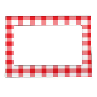 Red Gingham Magnetic Picture Frame