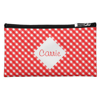 Red Gingham Makeup Bag