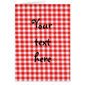 red gingham notecard