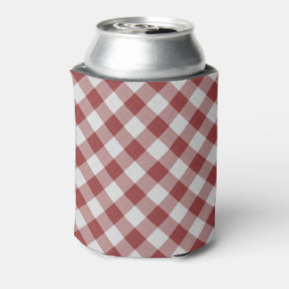 red gingham pattern can cooler