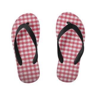 red gingham pattern child's flip flop
