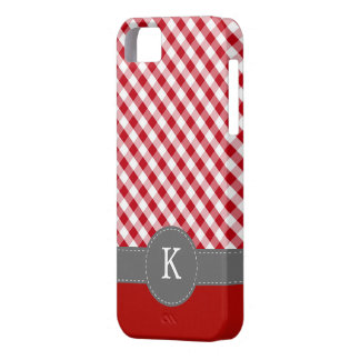 Red Gingham Pattern Custom Monogram Barely There iPhone 5 Case