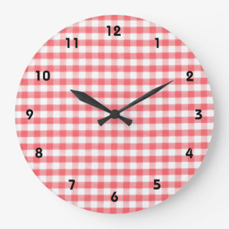 Red Gingham Pattern Large Clock