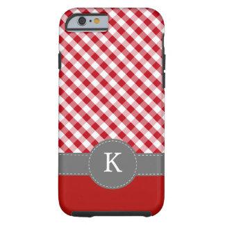 Red Gingham Pattern Monogram Tough iPhone 6 Case