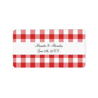 Red gingham pattern wedding favors address label