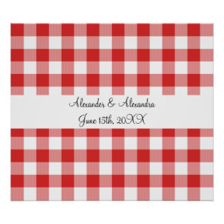 Red gingham pattern wedding favors posters