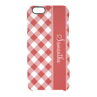 Red Gingham Personalized Clear iPhone 6/6S Case