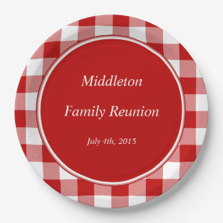 Red Gingham Personalized Event Plates