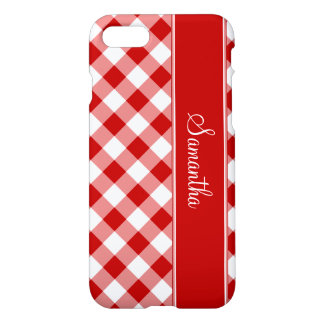 Red Gingham Personalized iPhone 7 Case