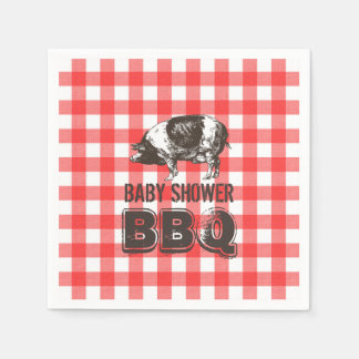 Red Gingham Pig Roast Baby Shower BBQ Disposable Serviette