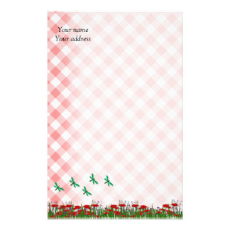 Red Gingham Poppies and Dragonflies Stationery