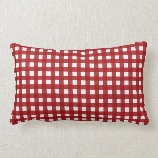 Red Gingham (Red and White Checked) Lumbar Cushion