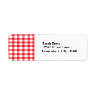 Red Gingham Return Address Label