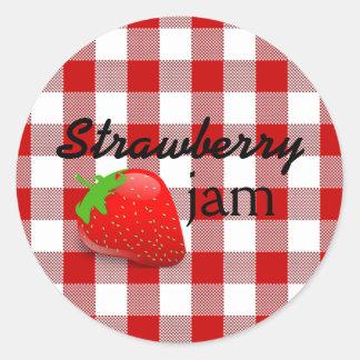 Red Gingham-Strawberry Jam Classic Round Sticker