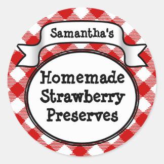 Red Gingham Strawberry Jelly Jam Jar Label