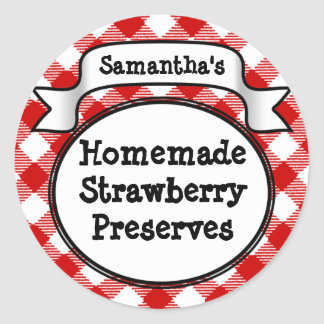 Red Gingham Strawberry Jelly Jam Jar Label Round Sticker