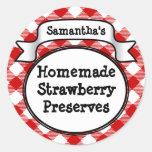 Red Gingham Strawberry Jelly Jam Jar Label Round Stickers