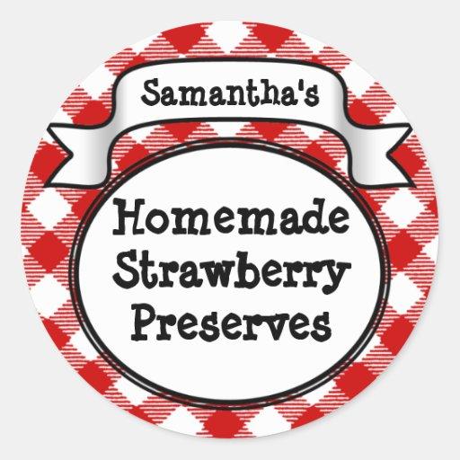 Red Gingham Strawberry Jelly Jam Jar Label Sticker