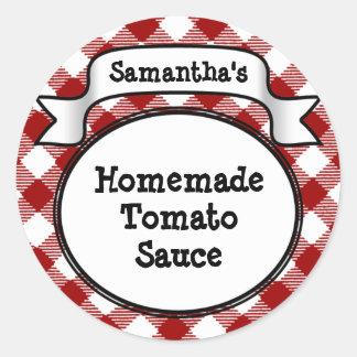 Red Gingham Tomato Sauce or Recipe Jar/Lid Label Round Sticker
