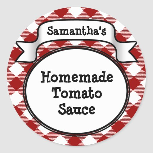 Red Gingham Tomato Sauce or Recipe Jar/Lid Label Stickers