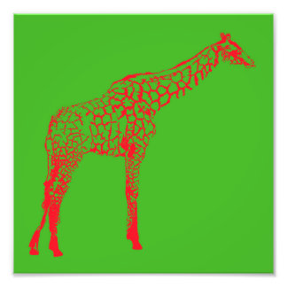 Red Giraffe Stencil Photo Print