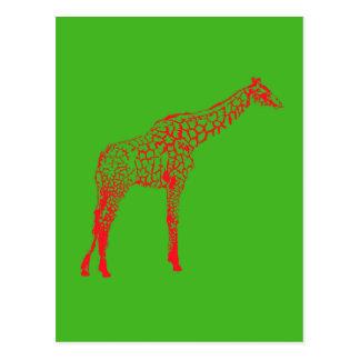 Red Giraffe Stencil Postcard