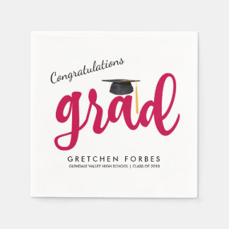 Red Girl Congrats Grad Class of 2018 Graduation Paper Serviettes