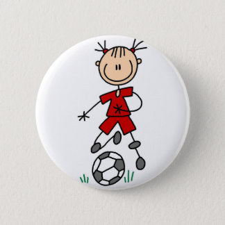 Red Girl Soccer Player Button