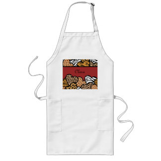 Red Girly animal print hearts with a name Long Apron