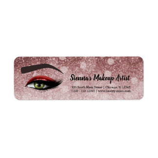 Red glam lashes eyes | makeup artist return address label