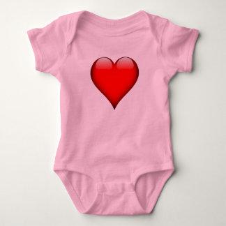 Red Glass Heart Customizable Baby Bodysuit