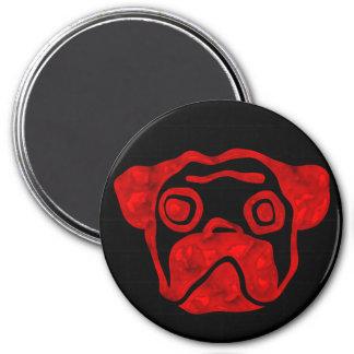 Red Glass Pug 7.5 Cm Round Magnet