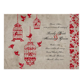 Red Glitter Birds Old Paper Wedding Invitation