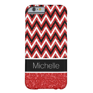 Red Glitter Black Chevron iPhone 6 Case Barely There iPhone 6 Case