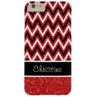Red Glitter Black Chevron iPhone 6 Plus Case