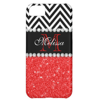 RED GLITTER BLACK CHEVRON MONOGRAMMED iPhone 5C CASE