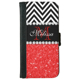 RED GLITTER BLACK CHEVRON STRIPES MONOGRAM iPhone 6 WALLET CASE