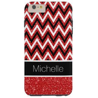 Red Glitter Black Chevron Tough iPhone 6 Plus Case
