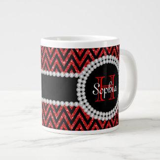 Red Glitter Black Chevrons Monogram Jumbo Mug