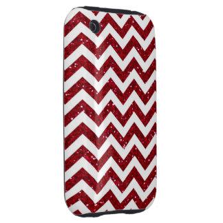 Red Glitter Chevron Pattern iPhone3 Case